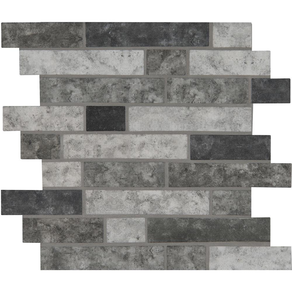 MSI Urban Tapestry Interlocking 11.81 in. x 11.81 in. x 6 mm Glass Mesh-Mounted Mosaic Tile