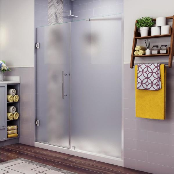 Aston Belmore 68 25 In To 69 25 In X 72 In Frameless Hinged Shower Door With Frosted Glass In Chrome Sdr965f Ch 6931 10 The Home Depot