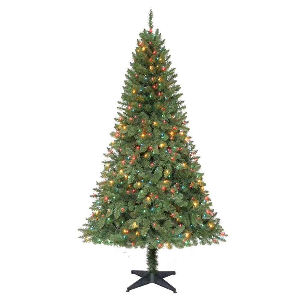 Home Accents Holiday 6.5 ft. Pre-Lit Verde Pine Christmas Tree with Multi-Color Lights