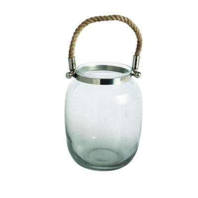Large Bubble Glass Hurricane Candle Lantern with Rope Handle
