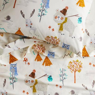 Forest Campers 200-Thread Count Organic Cotton Percale Sheet Set