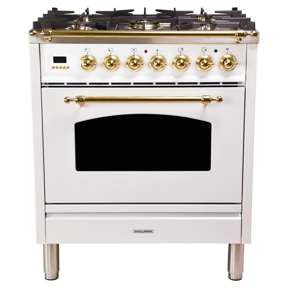 Hallman 30 in. 3.0 cu. ft. Single Oven Dual Fuel Italian Range with True Convection, 5 Burners, Brass Trim in White