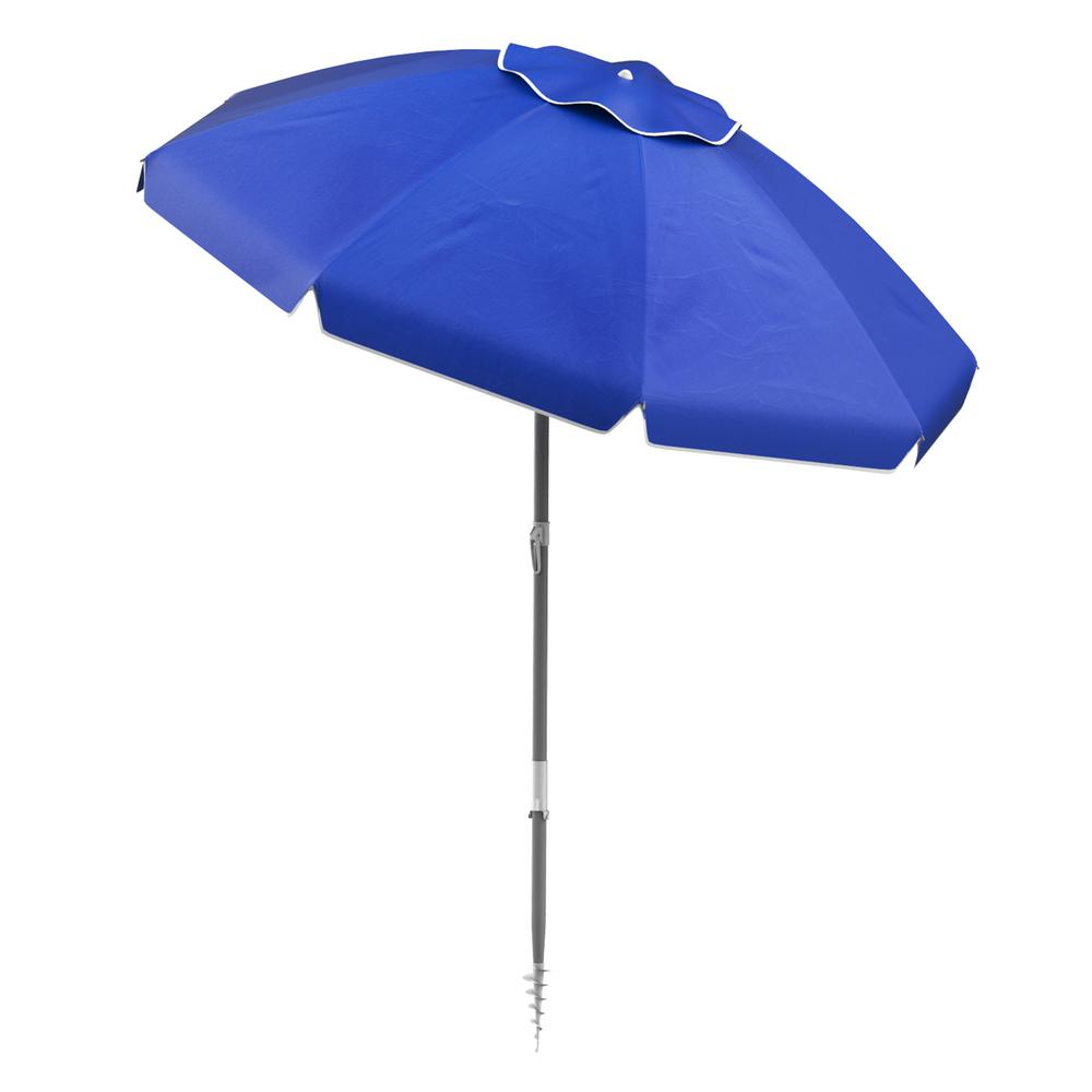 ab3392fd5a28 Pure Garden 6 ft. Aluminum Drape Tilt Beach Umbrella in Blue ...