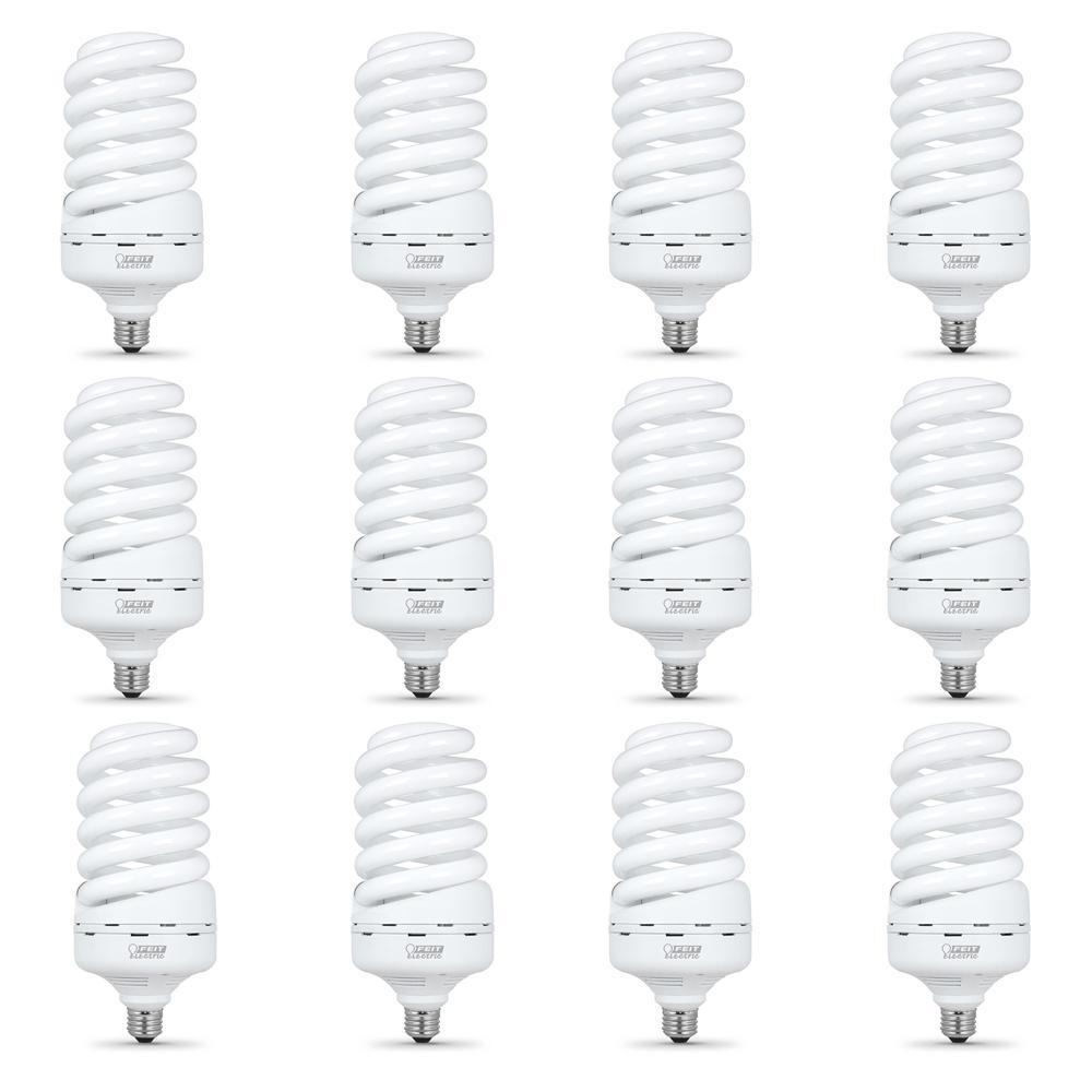 feit electric 60w equivalent soft white  2700k  gu24 spiral cfl light bulb-bpesl13t  gu24