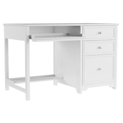 46 in. Rectangular White 3 Drawer Computer Desk with Solid Wood Material