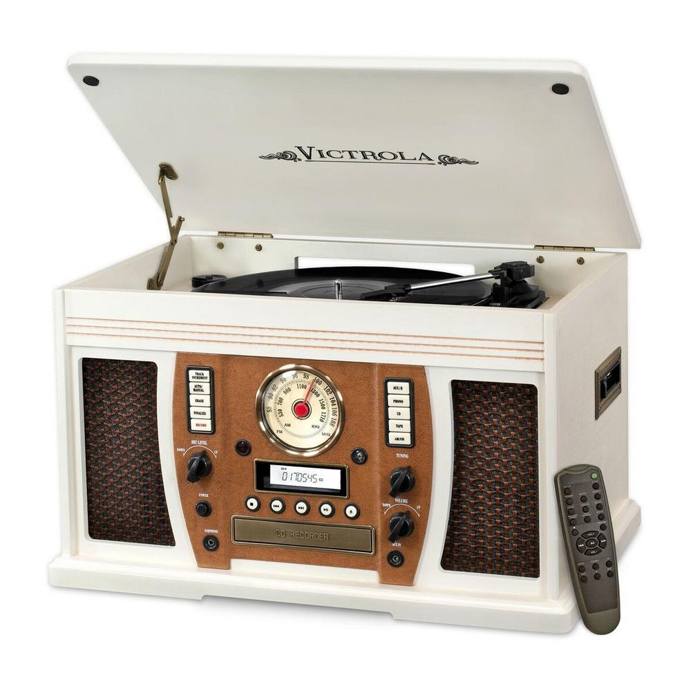 Victrola 7 In 1 Bluetooth Wooden Music Center In White