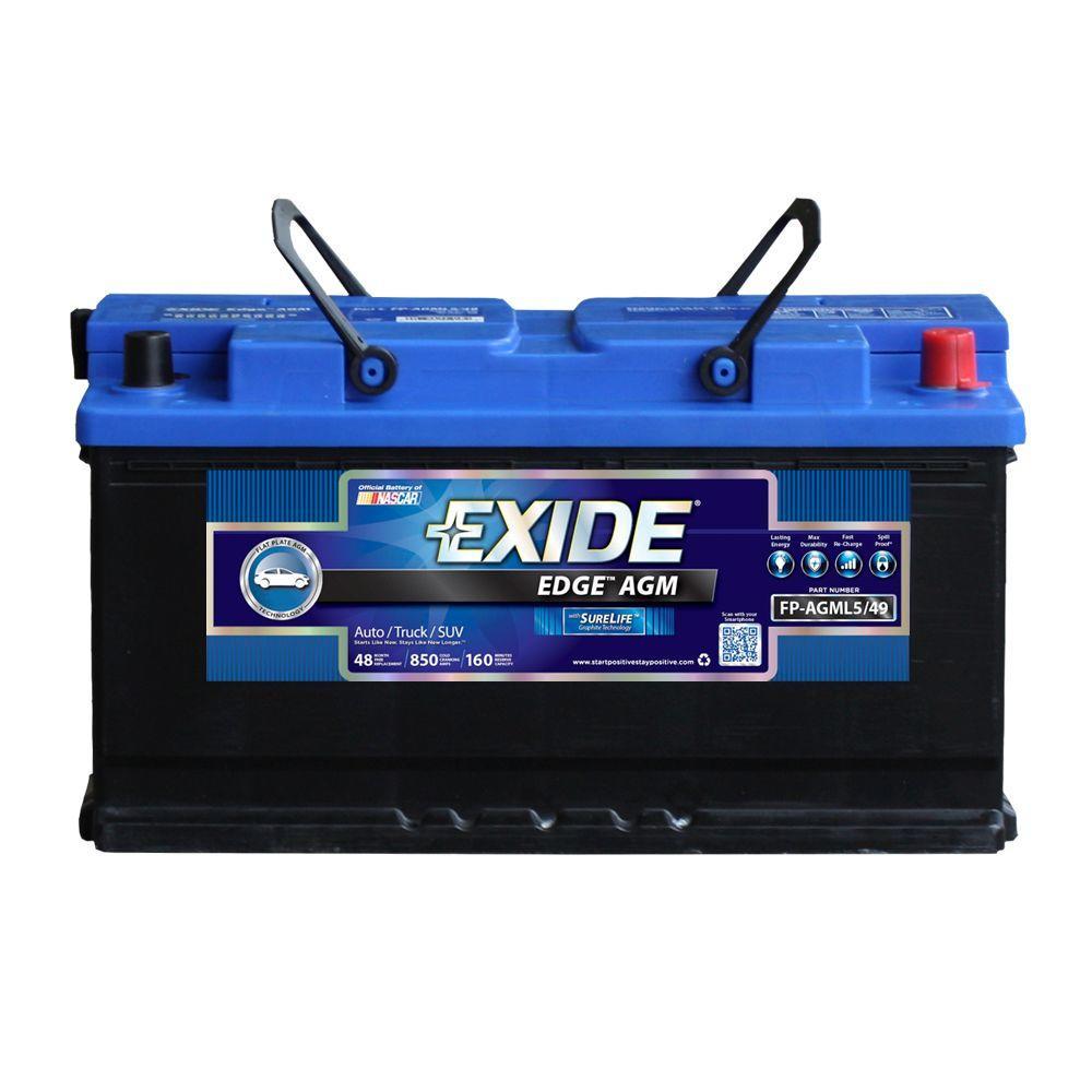 Exide Car Battery >> Exide Edge 12 Volts Lead Acid 6 Cell L5 49 H8 Group Size 850 Cold Cranking Amps Bci Auto Agm Battery Fp Agml5 49ds The Home Depot