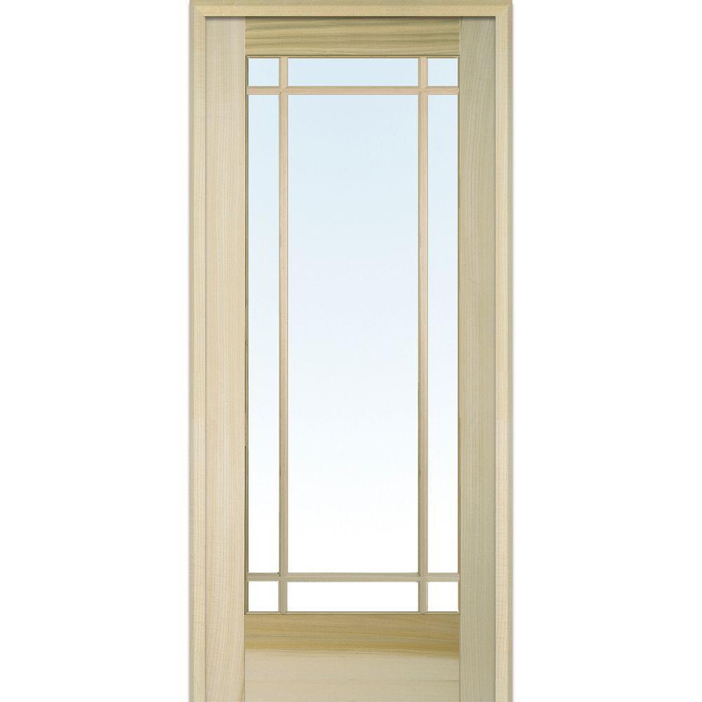 Mmi Door 32 In X 80 Left Handed Unfinished Poplar Wood Clear