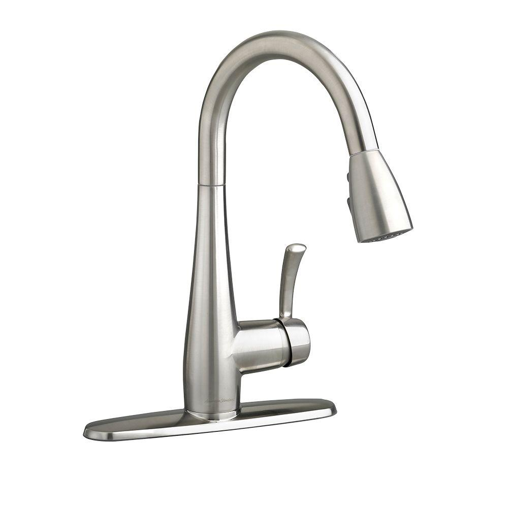chrome spout moen p low handle faucet standard single faucets chateau sprayer kitchen side commercial in arc coiled