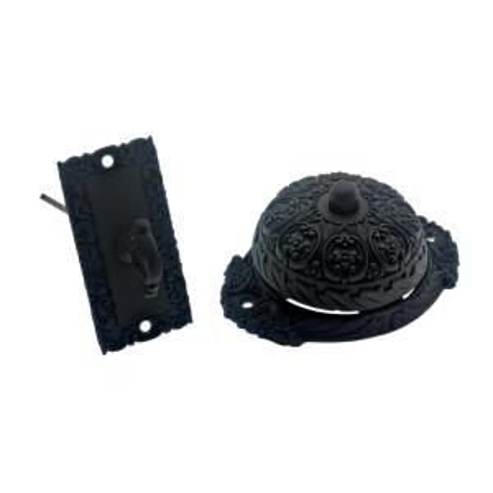 Solid Brass Ornate Mechanical Twist Door Bell in Matte Black