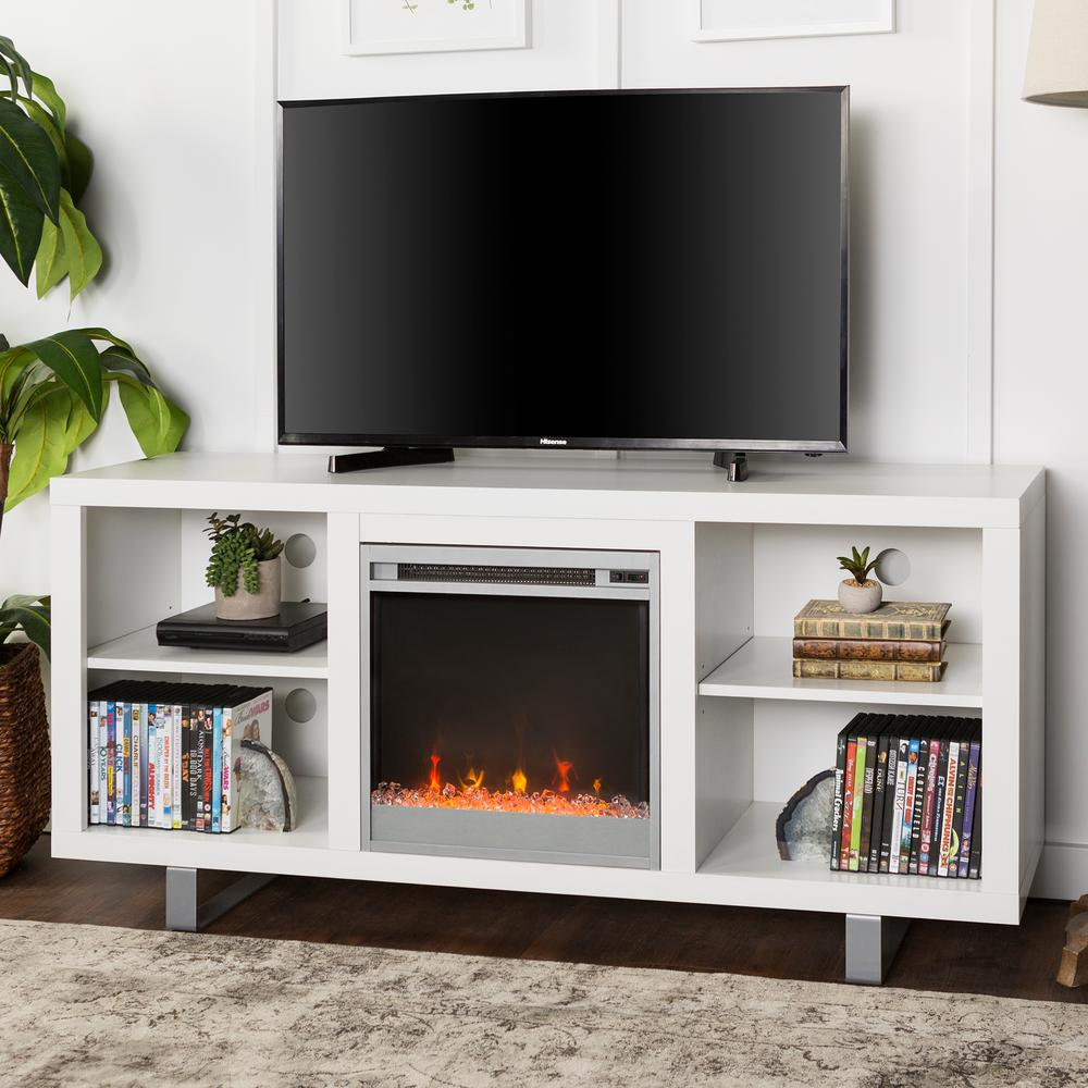 Convey a modern look and style to your residence by choosing this Walker Edison Furniture Company Simple Modern Fireplace TV Console in White.
