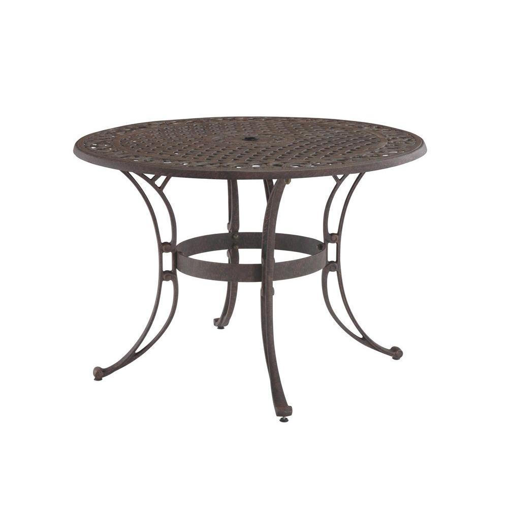 Round Patio Dining Tables Patio Tables The Home Depot - White metal outdoor dining table