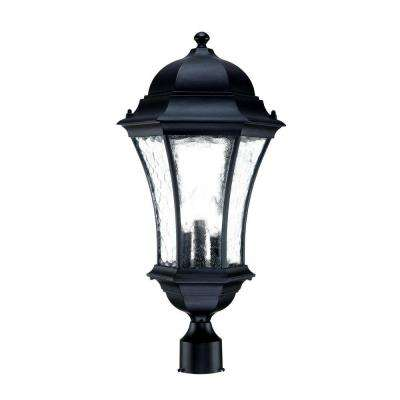 Waverly Collection 3-Light Outdoor Matte Black Post-Mount