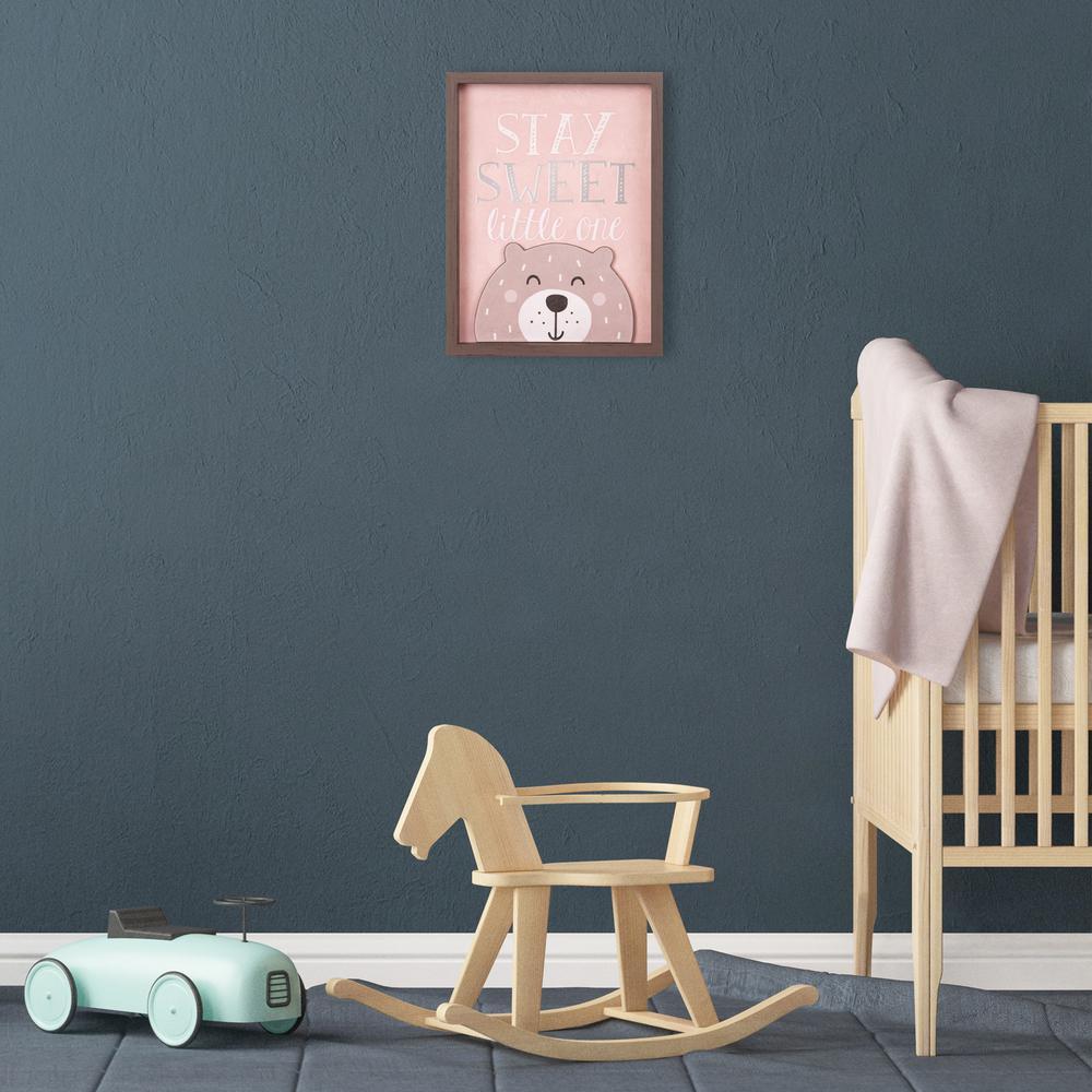 13 in. x 17 in. Stay Sweet Little One Bear Framed Wall Art