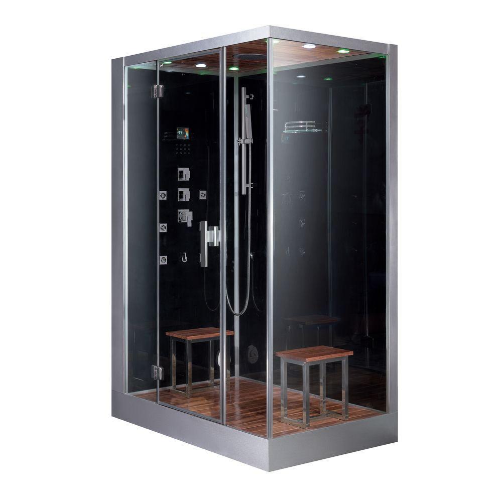 Ariel 59 inch x 35.4 inch x 89.2 inch Steam Shower Enclosure Kit in Black by Ariel