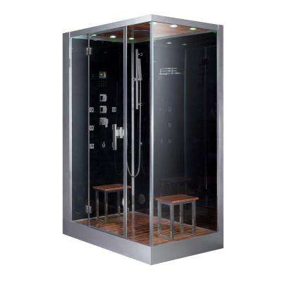 59 in. x 35.4 in. x 89.2 in. Steam Shower Enclosure Kit in Black