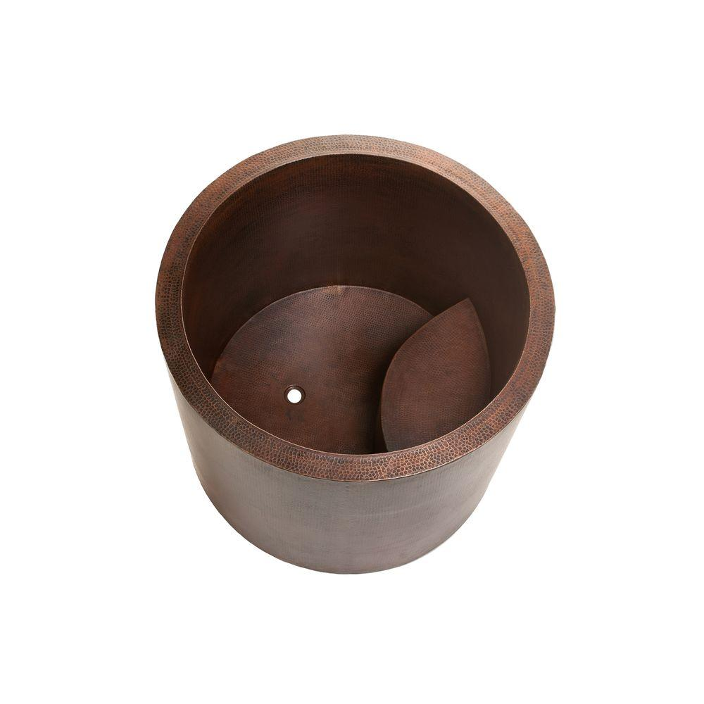Premier Copper Products 3 75 ft  Hammered Copper Japanese Style Soaker  Flatbottom Non-Whirlpool Bathtub in Oil Rubbed Bronze
