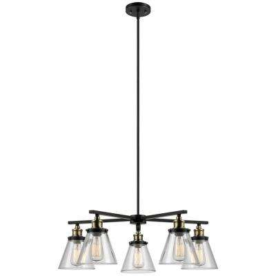 Shae 5-Light Vintage Edison Oil Rubbed Bronze Chandelier with Clear Glass Shade