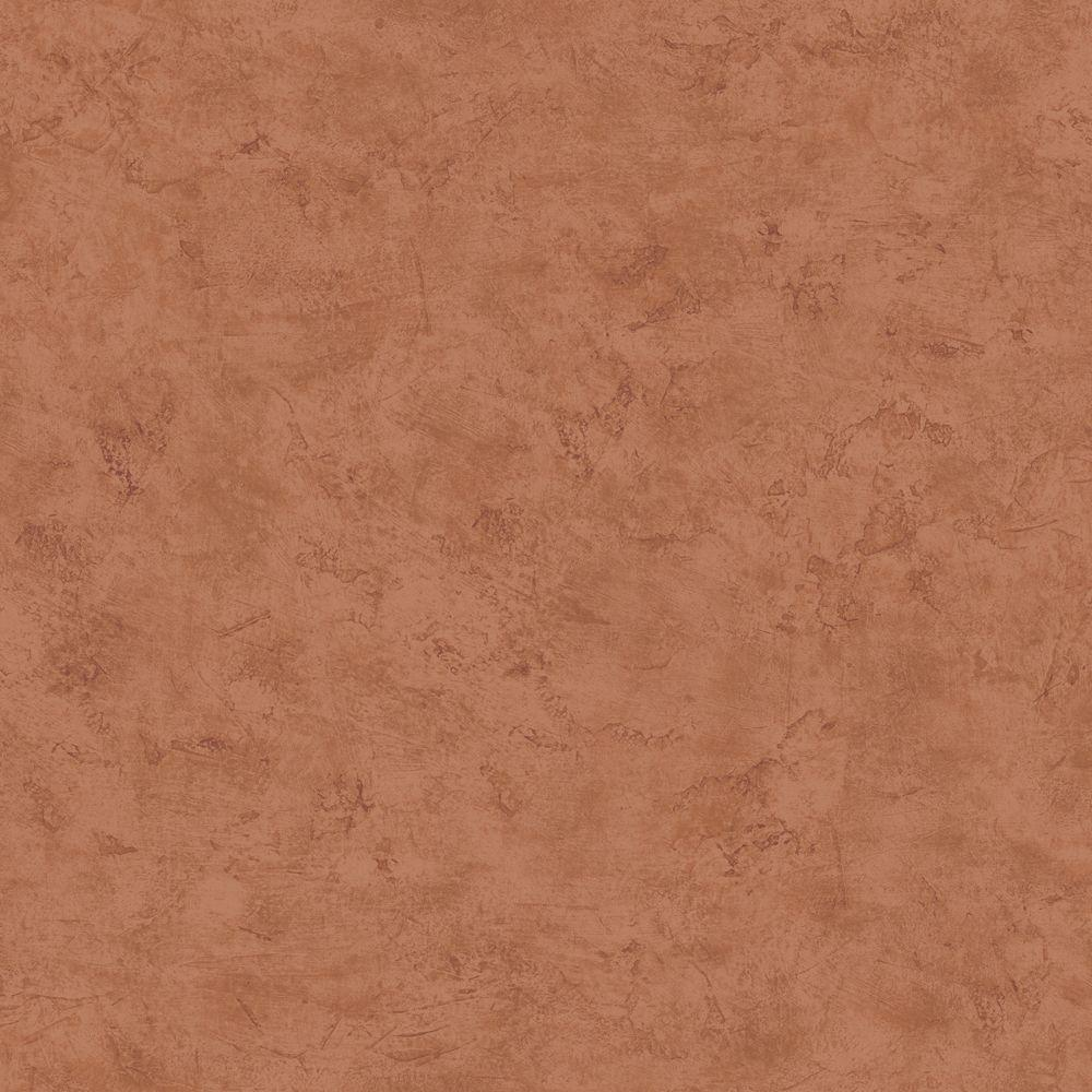 The Wallpaper Company 56 sq. ft. Brown Faux Plaster Wallpaper-DISCONTINUED