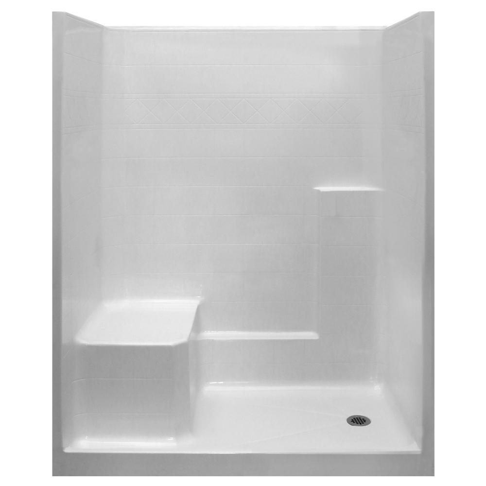 Ella Standard 33 In X 60 77 1 Piece Low Threshold Shower Stall White With Lhs Molded Seat And Right Drain