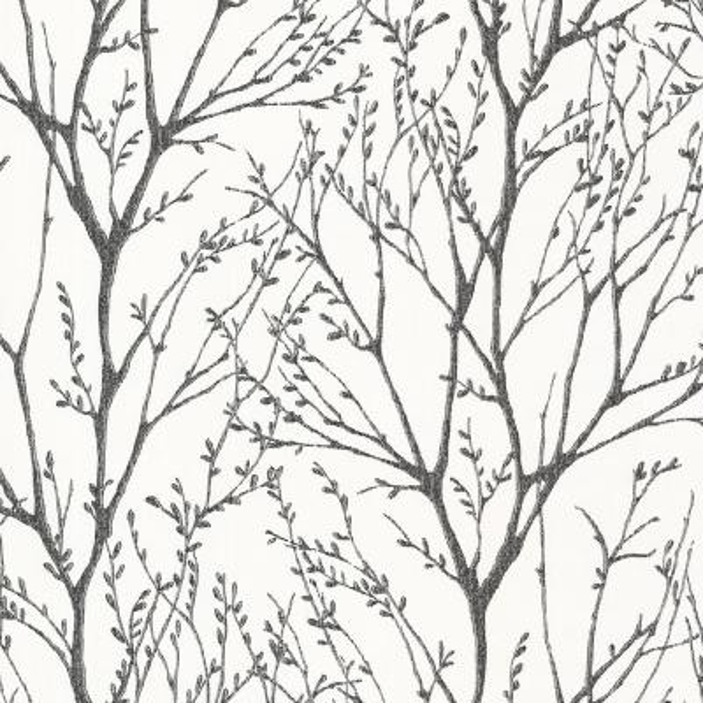 56.4 sq. ft. Delamere Black Tree Branches Wallpaper
