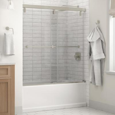 Lyndall 60 x 59-1/4 in. Frameless Mod Soft-Close Sliding Bathtub Door in Nickel with 1/4 in. (6mm) Clear Glass