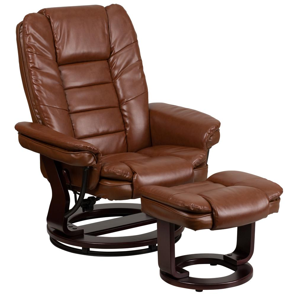 Flash Furniture Contemporary Brown Vintage Leather Recliner And Ottoman With Swiveling Gany Wood Base