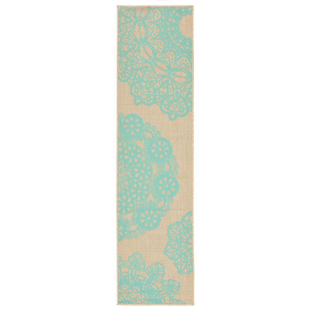Turquoise Runner Rug: Baxter Filigree Turquoise 2 Ft. X 8 Ft. Indoor/Outdoor