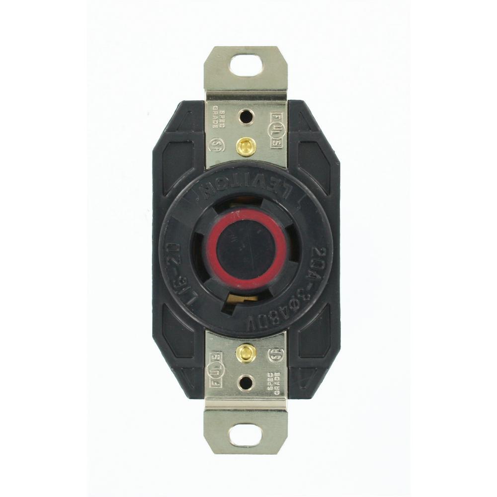 Leviton 20 amp 480 volt 3 phase flush mounting grounding for Outlet b b