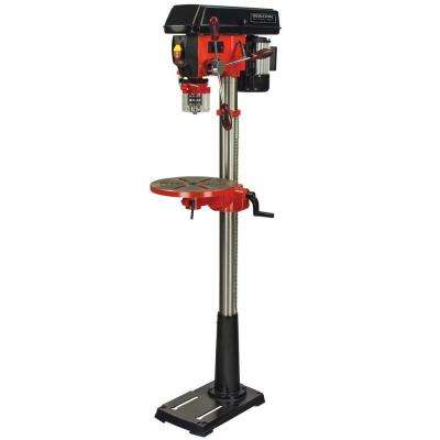 5 Amp 13 in. 16 Speed Floor Standing Drill Press with Laser and LED Light