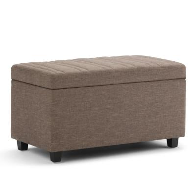 Darcy 34 in. Contemporary Storage Ottoman in Fawn Brown Linen Look Fabric