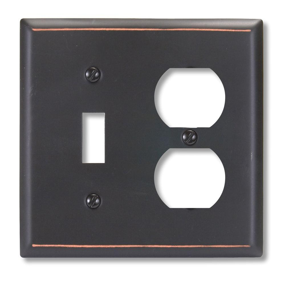 Amerelle Madison 1 Toggle 1 Duplex Wall Plate - Aged Bronze