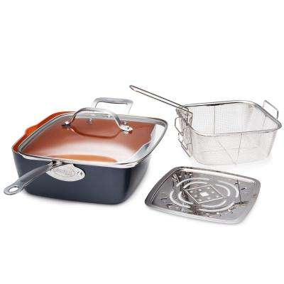 9.5 in. Ti-Ceramic Non-Stick  Deep Square Fry Pan Set (4-Piece )