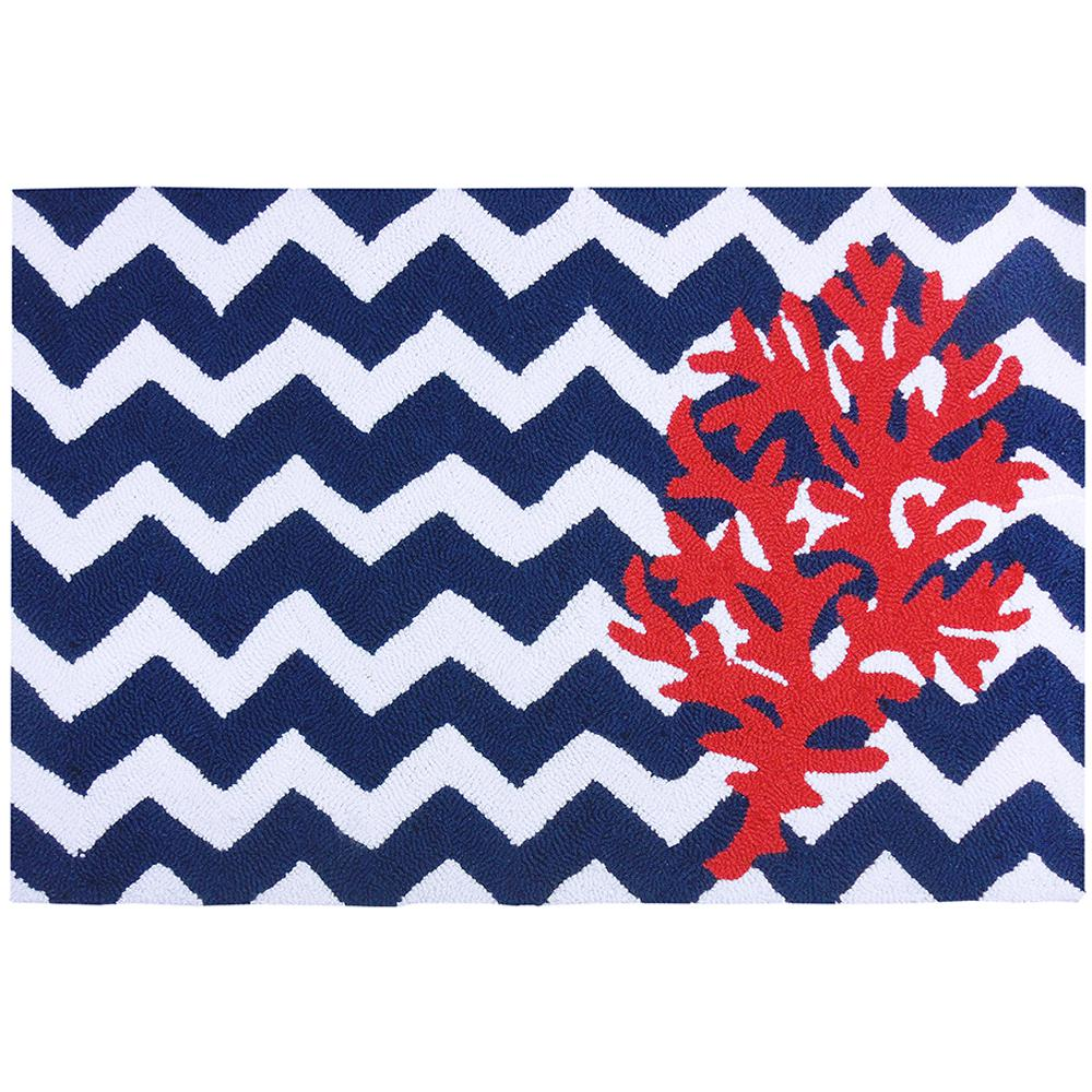 Chevron And Coral Multi Colored 2 Ft X 3 Ft Area Rug