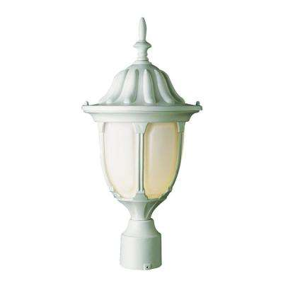 Cabernet Collection 1 Light 19 in. Outdoor Black Post Lantern with White Opal Shade