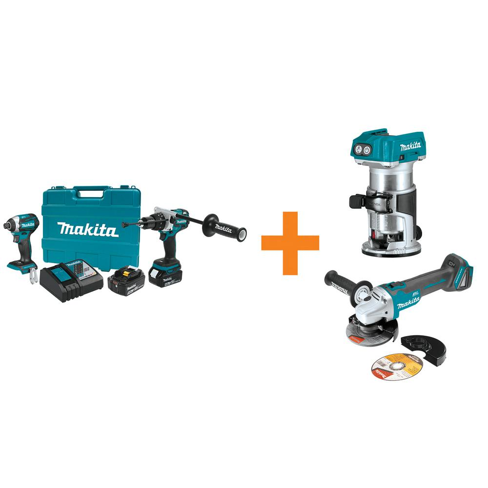 makita 18v lxt lithium ion bl cordless hammer drill impact. Black Bedroom Furniture Sets. Home Design Ideas