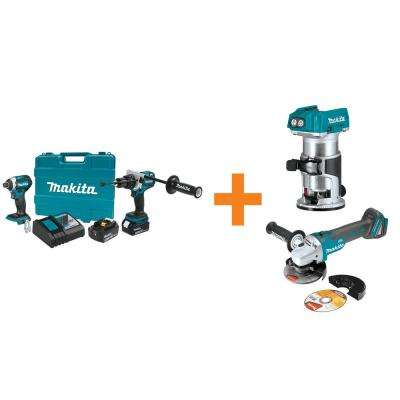 18V LXT Lithium-Ion BL Cordless Hammer Drill/Impact Driver Combo Kit w/BONUS 18V BL Router and 18V Cut-Off/Angle Grinder