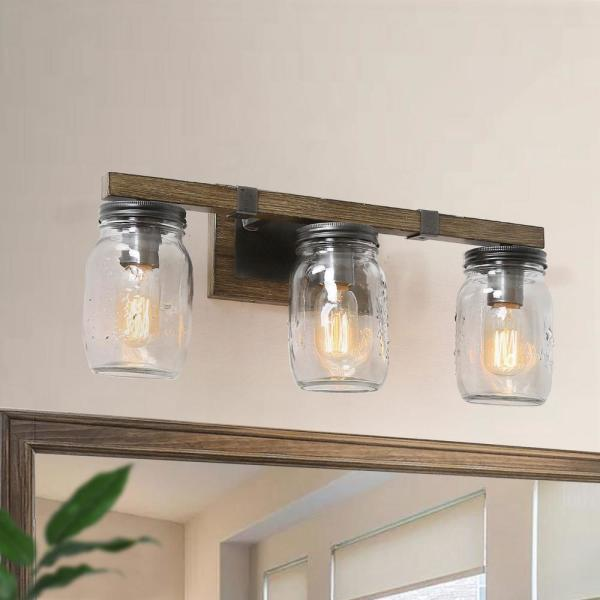 Araphi 3-Light 21 in. Oil-Rubbed Bronze Rustic Bathroom Vanity Light with Clear Jar Glass Shade and Painted Wood Accents