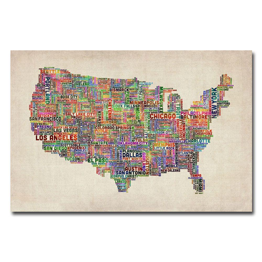 Trademark Fine Art 22 in. x 32 in. US Cities Text Map VI Canvas Art