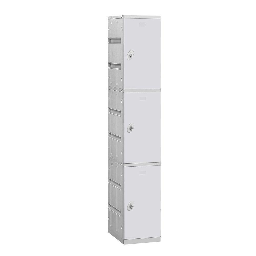 Salsbury Industries 93000 Series 12.75 in. W x 74 in. H x 18 in. D 3-Tier Plastic Lockers Unassembled in Gray