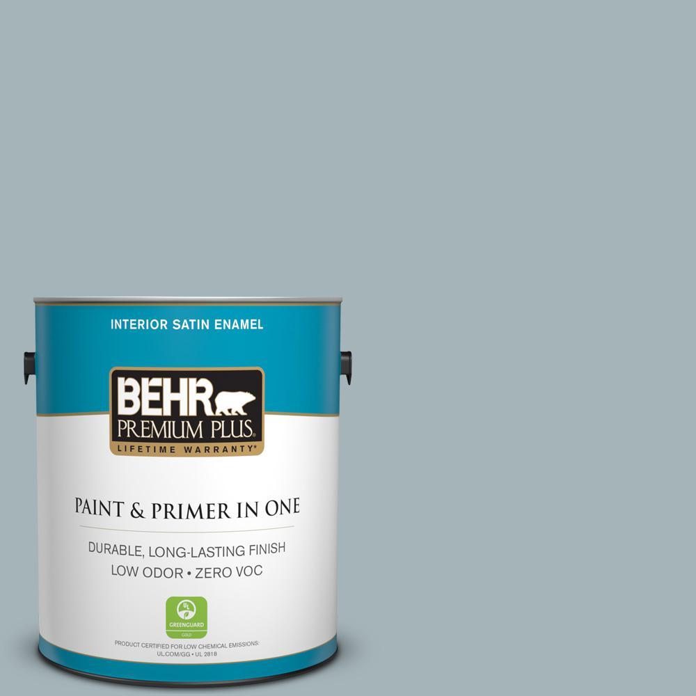 BEHR Premium Plus 1-gal. #ECC-22-2 Bay View Zero VOC Satin Enamel Interior Paint