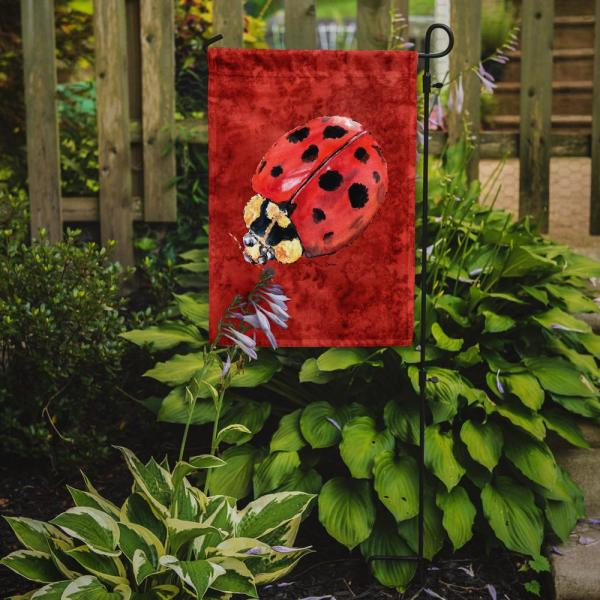 Caroline S Treasures 11 In X 15 1 2 In Polyester Lady Bug On Deep Red 2 Sided 2 Ply Garden Flag 8870gf The Home Depot