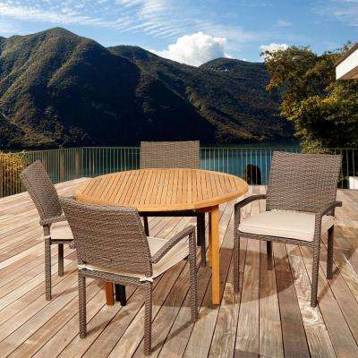 Barry 5-Piece Wood Outdoor Dining Set with Grey Cushions