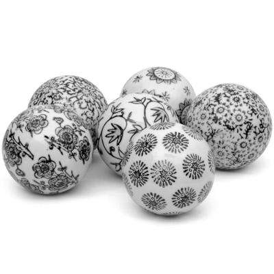 Oriental Furniture 3 in. Black and White Decorative Porcelain Ball Set