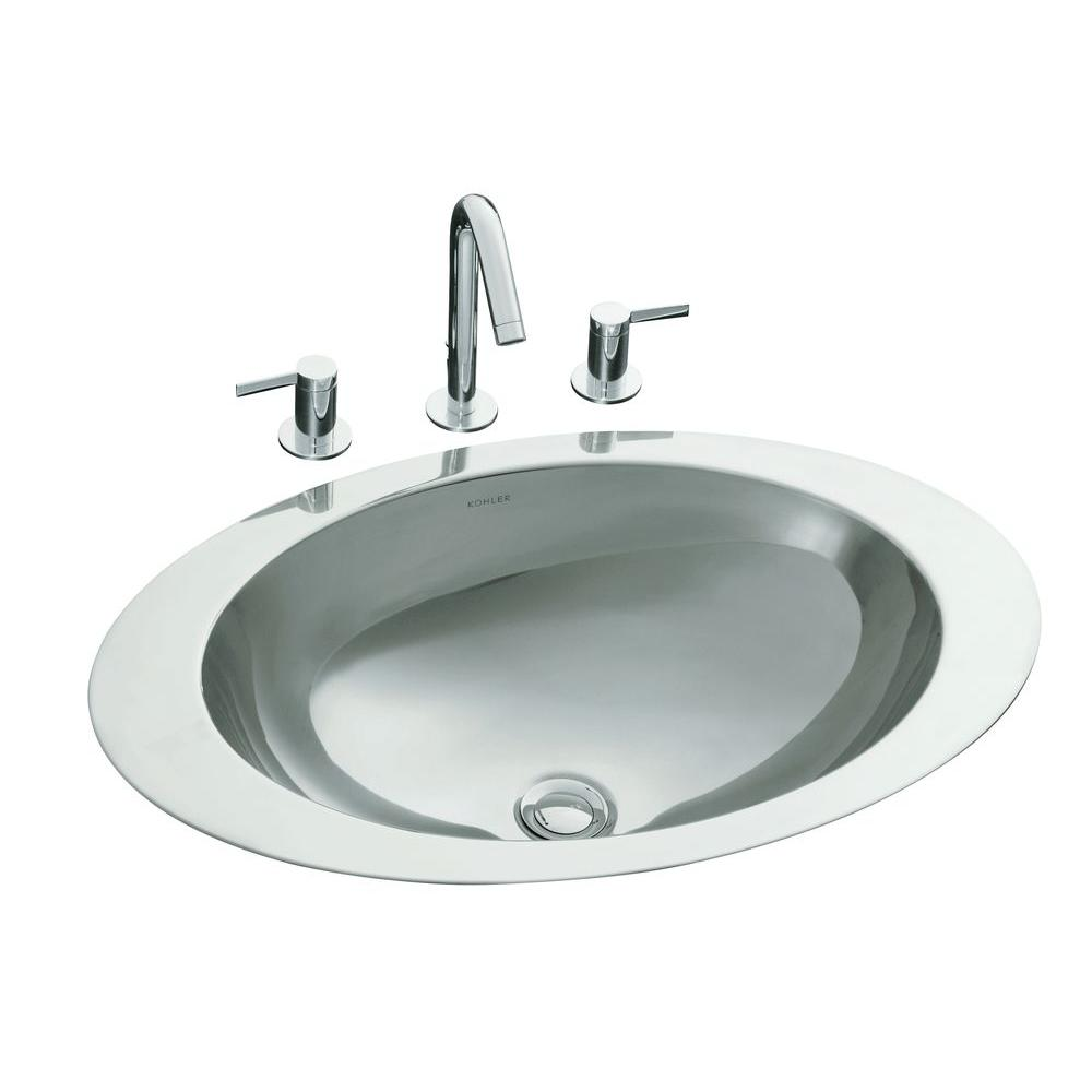oval bathroom sinks drop in kohler rhythm drop in oval stainless bathroom sink 23895