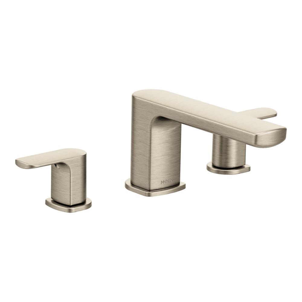 Rizon 2-Handle Deck Mount Roman Tub Faucet Trim Kit in Brushed