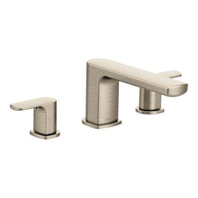 Rizon 2-Handle Deck Mount Roman Tub Faucet Trim Kit in Brushed Nickel (Valve Not Included)