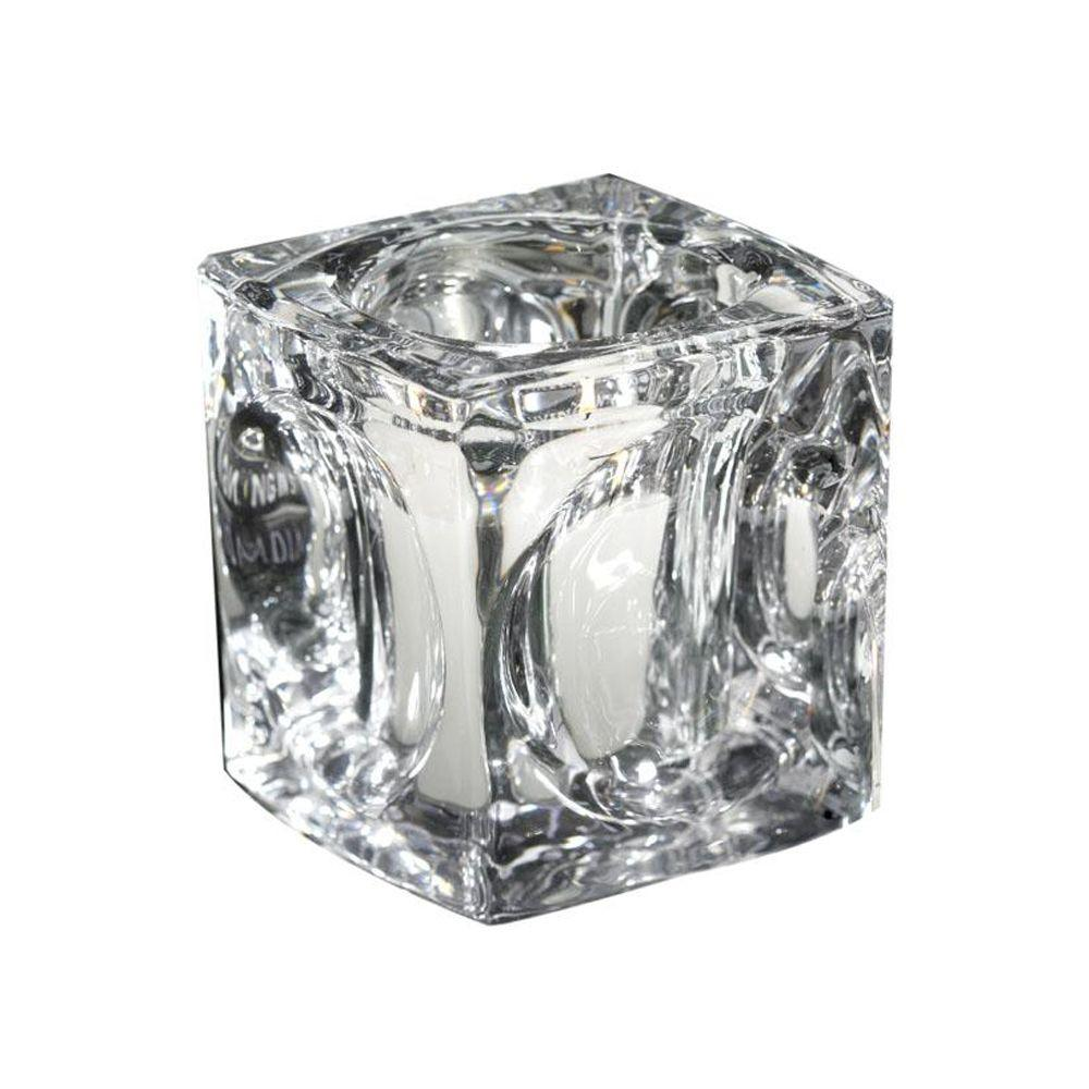 Home Decorators Collection Cubic Clear 3.5 in. W Tealight Candle Holder