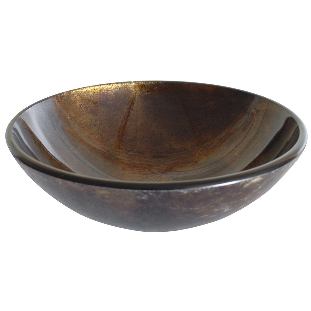 Reflections Glass Vessel Sink in Brown and Gold with Pop-Up Drain