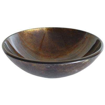 Reflections Glass Vessel Sink in Brown and Gold with Pop-Up Drain and Mounting Ring in Chrome